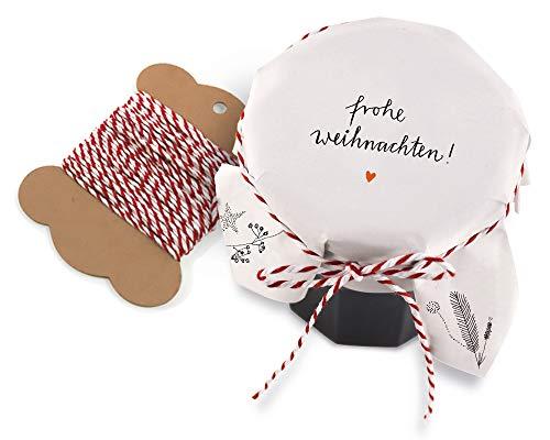 25 Marmeladendeckchen - Frohe Weihnachten - Gläserdeckchen weiß für Marmelade, Marmeladengläser & Einmachgläser, Recyclingpapier Abreißblock + 10 m Garn + Justiergummi
