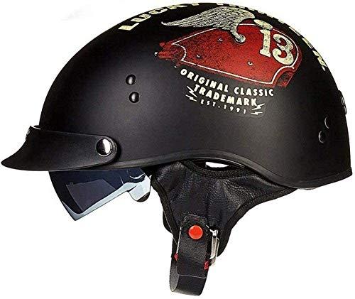 Casco abierto de motocicleta de medio casco con gafas, motocicleta cruiser machete, casco de motocicleta con personalidad Mofa, casco de motocicleta de seguridad deportiva DOT/ECE 2,M=57-58CM