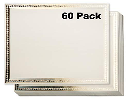Certificate Paper - 60 Blank Certificate Sheets for Participation Awards with Gold Foil Embossed on Letter Size Certificate Award Paper - Laser & Inkjet Printer Compatible - 8.5 x 11 Inches - Ivory