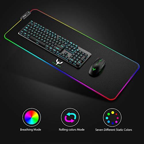 Gaming Mauspad, BLADE HAWKS RGB Mousepad mit 9 Beleuchtungs Modi, 800 x 300 mm Größere USB Gaming Mau Mat für Computer
