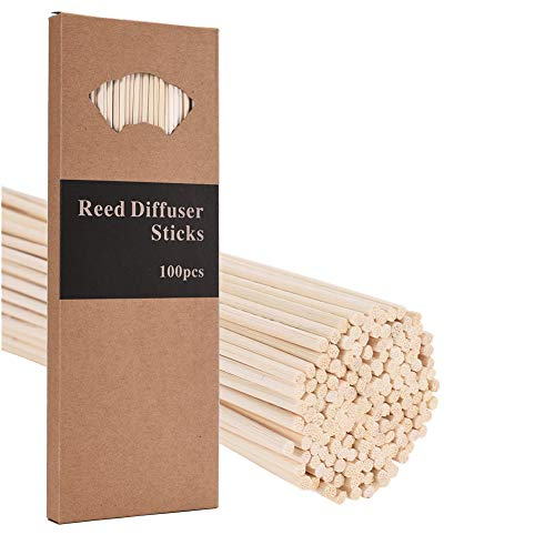 M&H 100PCS Reed Diffuser Sticks, 10 Inch Natural Rattan Wood Sticks Essential Oil Aroma Diffuser Sticks Refill Replacement for Aroma Fragrance (100 PCS)