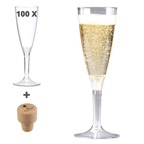 100 Pezzi CALICI MONOUSO per Vino Spumante Hungrycircle® Wine Room capacità da 100 ml. Elegante Forma a Calice Flute USA e Getta. Economici, pratici e
