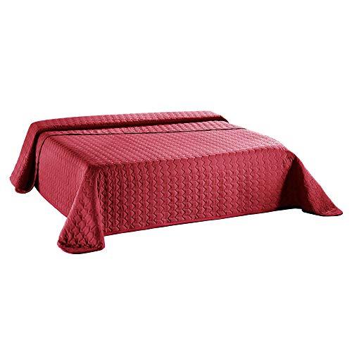 Sumkito Dreamlike Tagesdecke 240 x 260 cm Bordeaux rot Mikrofaser Bettüberwurf leichte Wattierung Steppdecke