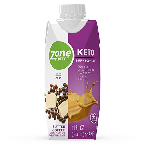 ZonePerfect Keto Shake, Butter Coffee, True Keto Macros To Burn Body Fat, Made With MCTs, 11 fl oz, 12 Count