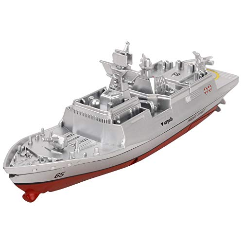 SSBH Military RC Naval Ship Vessel Model Remote Control Boat Speedboat Yacht Electric Water Kids Toy, Navy Battleship RC Military Model Boat, Remote Control Marine Warship (Color : Silver)