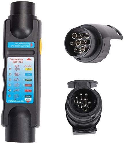 DIFIER Anhänger Tester 7-Kern-Tester Tester + Adapter 12V Auto Widerstand Anhänger Stecker Steckdose Anhänger Tester Stecker Rekorder