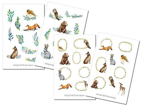 Tiere Sticker Set | Aufkleber Tiere | Journal Sticker | Sticker Wald, Natur, Bullet Journal, Pflanzen, Blumen, Floral, Fuchs, Bär, Eule