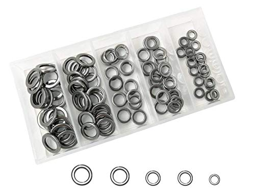 Mimilure Stainless Steel Solid Rings Kit for Jigging Fishing Assist Hooks Fishing Lures Tackle Set,5 Sizes,100 PCS
