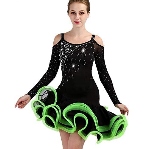 Fhxr Mesdames Jupe De Danse Sociale De Danse Latine Jupe Haut Polaire Diamond Pearl Latin Concours De Danse Robe Trois Étapes sur Le Costume (Color : Green, Size : M)