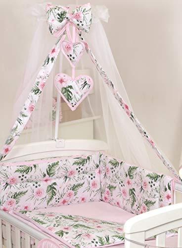Pro Cosmo 10 Piezas Juego de Ropa de Cama para Cuna bebé/Edredón, Dosel, Protector (120x60cm, Pink Roses Flowers)