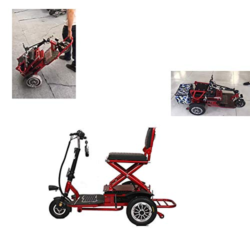 anking Folding Elektro-Dreirad Outdoor-Freizeit-Reise-Roller 48V20A Lithium-Batterie 40Km Für Älteres Behindertes Elektro-Dreirad, Motorleistung 350W, Last 150KG, Rot