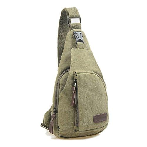 ForHe Casual Messenger Bag Canvas Shoulder Backpack Travel Rucksack Sling Bag Crossbody Purse For Hiking Camping,Arm Green