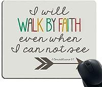 ゲーミングマウスパッドカスタム、聖書の詩クリスチャンの言葉1コリント人の滑り止めのゴム製の大きなマウスパッドが見えない場合でも、信仰によって歩きます9.5インチx 7.9インチ(240mm x 200mm x 3mm)