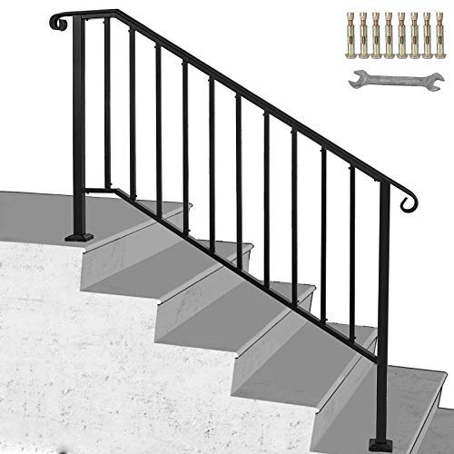 Happybuy Handrail Picket #4 Fits 4 or 5 Steps Matte Black Stair Rail Wrought Iron Handrail with Installation Kit Hand Rails for Outdoor Steps