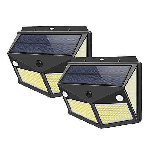 Maxesla Luz Solar Exterior 260 LED 2Pack 3Mode, Sensor de Movimiento,Luces LED Solares Exteriores 270º lluminación Focos Solares Exterior Impermeable Aplique Lampara Solar para Exterior Jardin,2000mAh