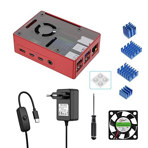 BERLS Caja Kit para Raspberry Pi 4, Interruptor de On/Off de 5.1V 3A USB-C Cargador, Ventilador, 4 Disipadores de Calor, Solo es Compatible con Raspberry Pi 4 (Rojo, Aluminio)