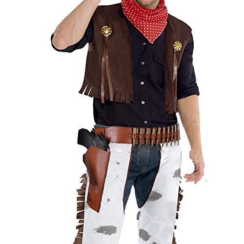 Cos Cowboy Gun Belt and Holster Masquerade Cowboy Vintage Belt & Gun Holster (Belt & Right Holster) Yellow