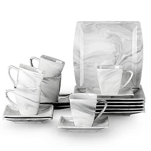 MALACASA, Serie Blance, 18 tlg. Set Marmor Porzellan Kaffeeservice Teeservice Geschirr, mit 6 Stück Kuchenteller, 6 Stück 180ml Tasse und 6 Stück Untertasse für 6 Personen