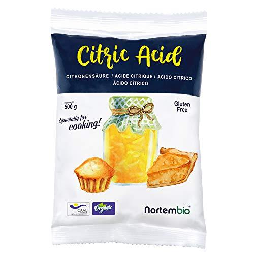 Nortembio Zitronensäure 500g. 100% Reines Pulver in Lebensmittelqualität. Ökologischer Input. Entwickelt in Deutschland.