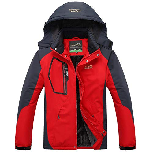 LQCN Skianzug, Herren Winddicht Wasserdicht Warm Verdickt sowie Samtjackenund Hosen Männlich Winter Mountain Skifahren Snowboard Mäntel, rot,Etikettengröße3XL EUR XL