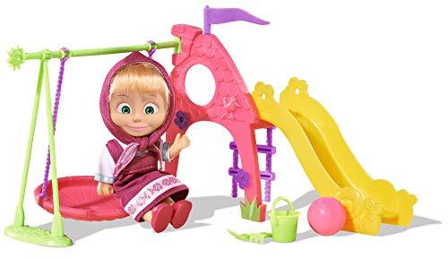 Simba 109301816 - Mascha und der Bär - Mascha Puppe mit Spielplatz