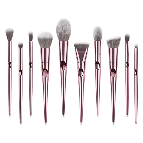 Ensemble de pinceaux de maquillage beauté, Outil de maquillage beauté, rose, 10pcs Foundation Blend Power Blend Makeup
