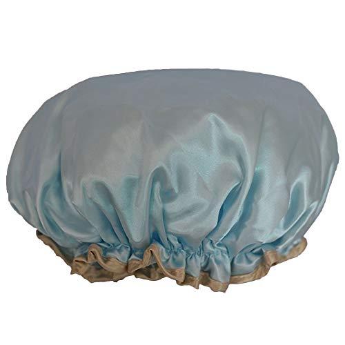 Bonnet Chapeau Douche Bain Cheveux Dentelle Nœud Papillon PVC Bleu Imperméable
