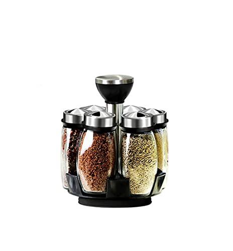 GLLP Scatola di Stoccaggio della Scatola di Stoccaggio del Rack della Spezia Rotante Strumenti di Condimento di Vetro della Zucchero della Ciotola del Sale Shaker Pepper Gadget Box di Immagazzinaggio