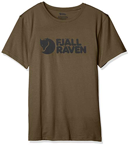 FJALLRAVEN Herren Logo T-Shirt M L Dunkles Olivgrün