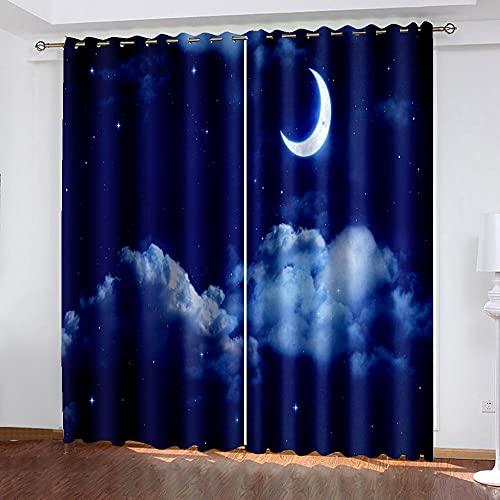 DRFQSK Cortinas Opacas 3D 2 Piezas 117 X 230 Cm(An X Al) Salón Dormitorio Decoración De La Ventana Cortinas Termicas Aislantes Frio Y Calor con Ojales Luna Estrellada Cortinas Infantil