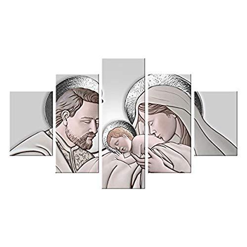 Lupia Quadro Sacra Famiglia 5 Pezzi in Legno Vogue 66X115 cm The Kiss Ceramic Grey
