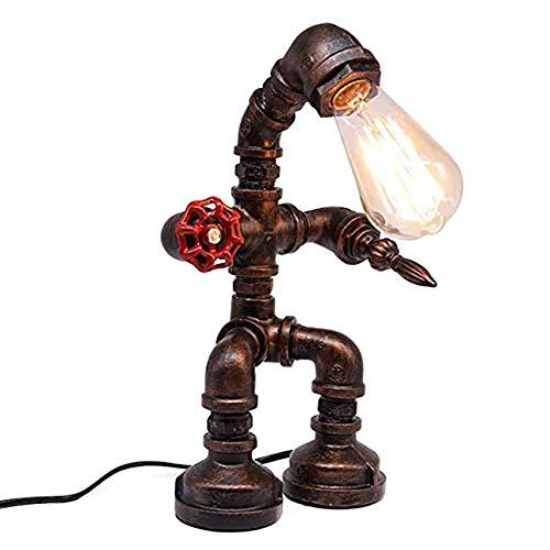 Jorzer Vintage Tischlampen, Injuicy Loft Antike Retro Industriewasserrohr aus Metall LED-Schreibtisch Accent Lampen, Bügeleisen, Wasserrohr Basisschreibtischlampe mit Seil für Nacht, Schlafzimmer
