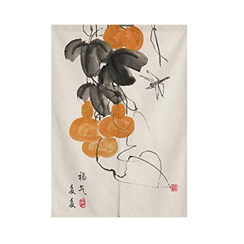Cortina de puerta de estilo japonés Noren para puerta de pasillo, media cortina de entrada para decoración del hogar, 33.5 x 47.2 pulgadas, 60