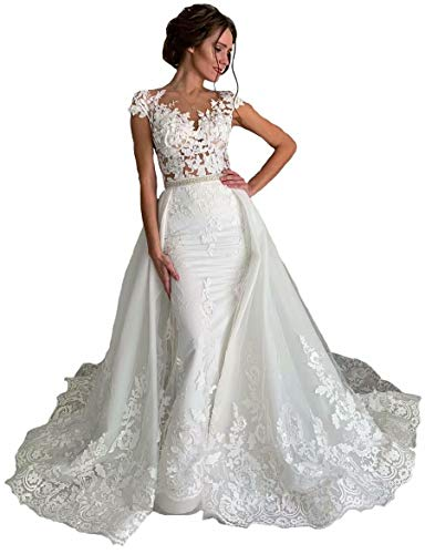 Women's Mermaid Lace Appliques Detachable Long Train Wedding Brides Dresses with Beaded Sash Ivory Extra