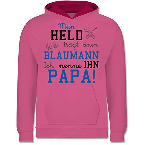 Shirtracer Sprüche Kind - Mein Held trägt einen Blaumann - 104 (3/4 Jahre) - Rosa/Fuchsia - blaumann Kinder - JH003K - Kinder Kontrast Hoodie