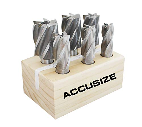 Accusize Industrial Tools 6 Pc Multi Flute Bridgeport H.S.S. End Mills Set, 3/4'' Shank, 4 and 6 Flute, Cutting Dia from 3/4'' to 1-1/2'', 1822-0206