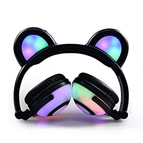 Auriculares Bluetooth, auriculares para los auriculares para los auriculares de los auriculares plegables con la luz del flash LED para iPhone, iPad, teléfono móvil Android, MacBook, Tablet (Negro)