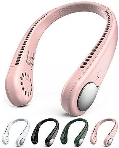 GAIATOP Ventilador de cuello personal manos libres sin aspas colgante ventilador deportivo (rosa, EE. UU.)