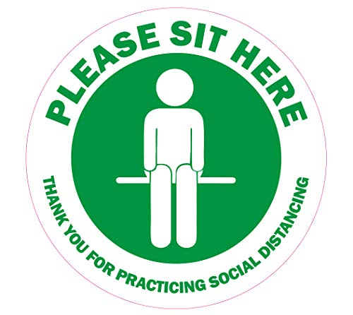 """Please Sit Here Social Distancing Stickers - 30 GREEN Decals 4"""" Round, Chair Decals-Premium European Self-Adhesive Vinyl, Labels - Laminated for Ultimate UV, Water & Fade Resistance - Indoor & Outdoor"""