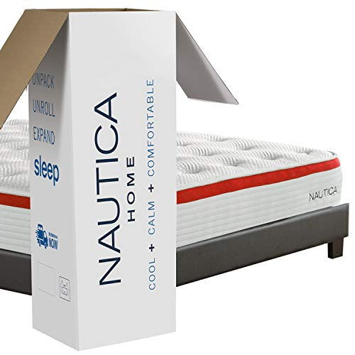 Lowest Prices! Nautica Home Mattress, King 10″ Harmony Hybrid Innerspring Bed with Cooling Latex Foam, Quilted Cover, Perimeter Edge Support, Pocketed Springs, Side, Back, Stomach Sleepers