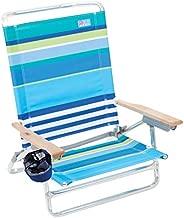 Rio Beach Classic 5 Position Lay Flat Folding Beach Chair - Cool Blue Stripes