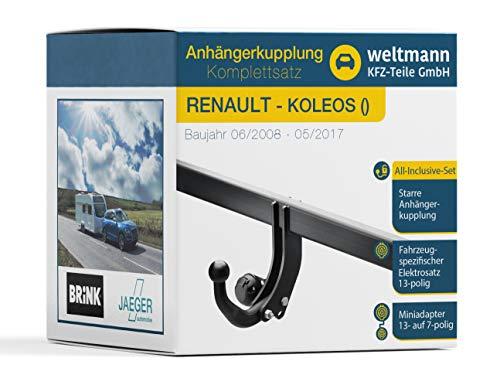 Weltmann AHK Komplettset geeignet für KOLEOS Brink Starre Anhängerkupplung + fahrzeugspezifischer Jaeger Automotive Elektrosatz 13-polig