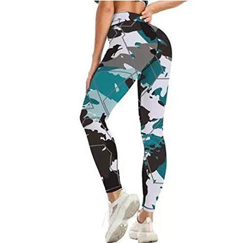 Leggings Ajustados de Leopardo de Retazos de Cintura Alta de Talla Grande Push Up Mujer Fitness Gym Yoga Pantalones Black L