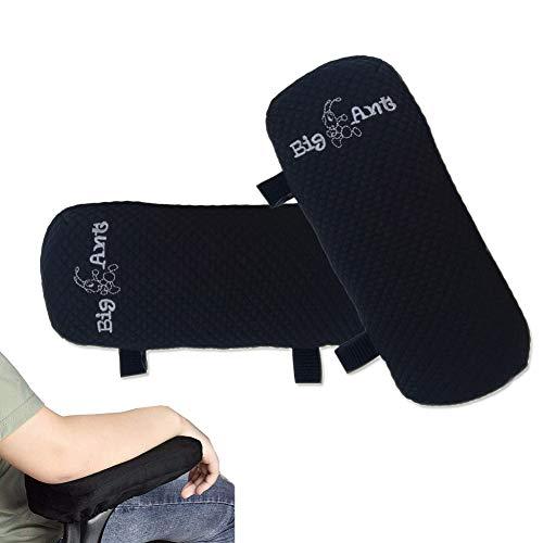 Armlehnen Polster, Armlehnenschoner für Bürostuhl und Spielstuhl,Memory-Schaum Armlehnen Kissen mit Gurt, auch als Maus Keyboard Handballenauflage für Ellenbogen & Handgelenk