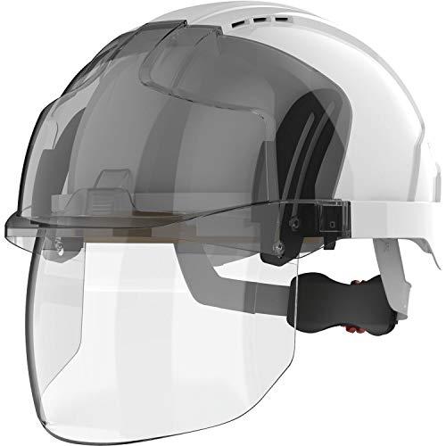 JSP Casco de protección industrial EVO VISTAShield EN 397, ventilado, color blanco/cristal ahumado