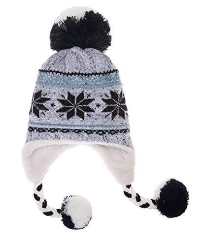 Dosoni Women Girl Winter Hats Knit Soft Warm Earflap Hood Cozy Large Snowflake Beanie (Gray)