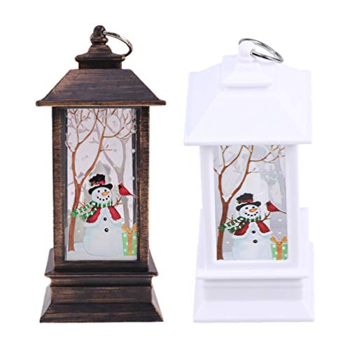 Cabilock Weihnachtslaterne Schneemann Kiefer Beleuchtete Schneekugel Laterne Beleuchtet Weihnachten Glitzernde Wasserlampe Laterne Nachtlicht Weihnachten Wohnkultur Geschenke 2St