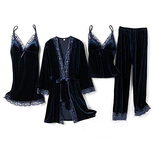 Conjunto de Pijamas de Terciopelo para Mujer de 4 Piezas, Ropa de Dormir Suave de otoño Invierno, camisón con Tirantes Sexi de Encaje de 5 Colores, Bata Rosa cálida, E, M