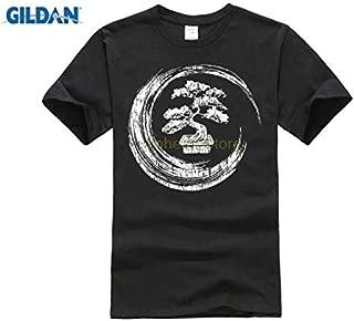 Normal Short Sleeve Cotton T Shirts Bonsai Tree Enso Circle T-Shirt Vintage Zen Calligraphy Art:Black, XL