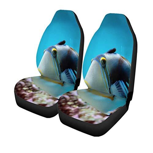 Auto Stoelhoezen Kleurrijke Aquarium Onderwater van Tropische Vissen Blauwe Zee Koraal Set van 2 Beschermers Auto Fit voor Auto